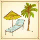 Sketch palm and deck chair in vintage style Stock Images