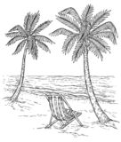 Sketch palm tree landscape. Tropical palm beach, exotic trees and sea waves. Vintage hand drawing vector relaxing summer stock image