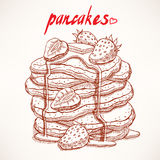 Sketch pancakes with strawberries Stock Images