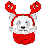 Sketch panda face with mustache in a reindeer antlers. With knitted scarf. Hand drawn doodle vector illustration for Christmas greeting cards, posters Royalty Free Stock Image