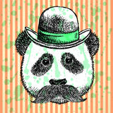 Sketch panda in hat with mustache, vector  background Stock Photos