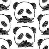 Sketch panda with mustache,   seamless pattern Stock Photo