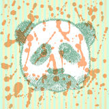 Sketch panda with mustache, vector background Royalty Free Stock Photo