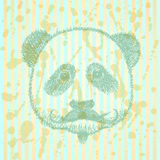 Sketch panda with mustache, vector background Stock Photo