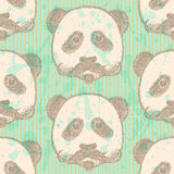 Sketch panda with mustache, vector  seamless pattern Stock Photo
