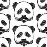 Sketch Panda With Mustache, Vector Seamless Pattern Stock Photography