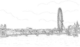 Sketch of the panorama of London. Sketch a panorama of London with a Ferris wheel and the Westminster Bridge Royalty Free Stock Photo