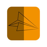 Sketch of paper airplane in square frame. Vector illustration Stock Photography