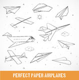 Sketch of paper planes. On white background. Vector illustration Stock Image