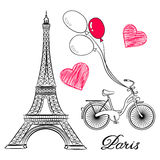 Sketch of Paris, Eiffel Tower and bike with air balloons Royalty Free Stock Photo