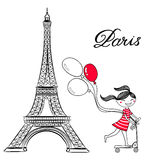 Sketch of Paris, Eiffel Tower and Girl on scooter with air balloons Royalty Free Stock Photo