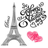 Sketch of Paris, Eiffel Tower  with hearts Royalty Free Stock Photo