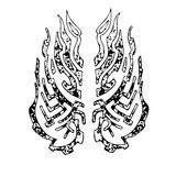 A sketch of the pattern with the torn texture of fire. Black the symbol of fire or wings on a white background Royalty Free Stock Photos