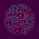Sketch peace symbols circle shape compostion EPS10 file. Colorful sketch style peace symbols circle shape composition. EPS10 Vector file organized in layers for Stock Images