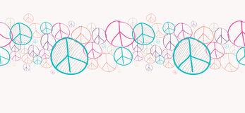 Sketch peace symbols seamless pattern background EPS10 file. Stock Photography