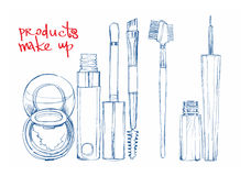 Sketch pen color cosmetics for the eyes Royalty Free Stock Image