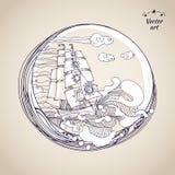Sketch pen drawing sailfish at circle label. Sketch pen drawing sailfish at old paper. Vintage vector sea illustration. Sailfish label element Stock Photography