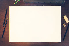 Sketch pencil drawing mockup. Sketch pencil drawing presentation mockup empty paper  - insert your own art Stock Photo