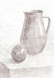Sketch pencil drawing still life Royalty Free Stock Photo