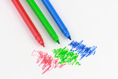 Sketch pens of RGB colors Royalty Free Stock Photo