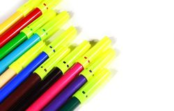 Sketch pens with   white background. Sketch pens with  white background educational concept close up photo Stock Photo