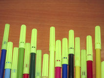 Sketch pens on the wooden background Stock Photography
