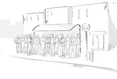 Sketch People Crowd Street Bus Station Hand Drawn. Outdoors Vector Illustration Stock Photography