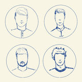 Sketch people icons. Men hand-drawn pencil pictograms  o. N white background Royalty Free Stock Photos