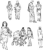 Sketch of people in line on white background. Abstract sketch of walking people in line on white background Stock Image