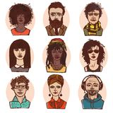 Sketch people portraits colored set Royalty Free Stock Photo