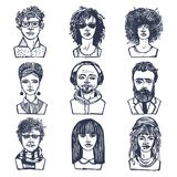 Sketch people portraits set Royalty Free Stock Image