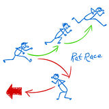 Sketch with people running right and wrong way Royalty Free Stock Photos