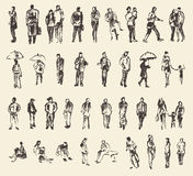 Sketch of people vector Illustration hand drawing Royalty Free Stock Photos