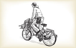 Sketch of people who is bicycle messenger with cargo bike riding Royalty Free Stock Image
