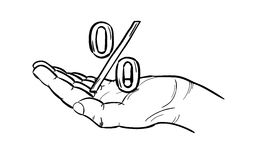 Sketch of the percentage symbol and hand Stock Photos