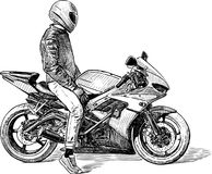 Sketch of a person on a motorcycle Royalty Free Stock Photo