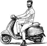 Sketch of a person on a scooter Royalty Free Stock Photography