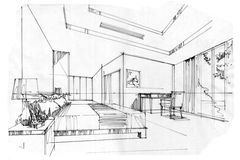 Sketch perspective interior bed room , black and white interior design. Royalty Free Stock Photo