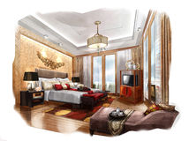 Sketch perspective interior Bedroom into a watercolor on paper. Royalty Free Stock Images