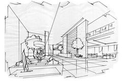 Sketch perspective interior lobby , black and white interior design. Stock Images