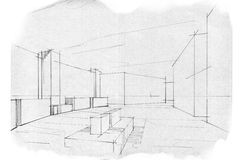 Sketch perspective interior lobby , black and white interior design. Stock Photos