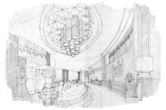 Sketch perspective interior lobby , black and white interior design. Royalty Free Stock Photo