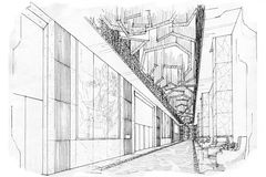 Sketch perspective interior pre function room , black and white interior design. Stock Photography