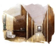 Sketch perspective interior pUBLIC TOILET into a watercolor on paper. Stock Photography