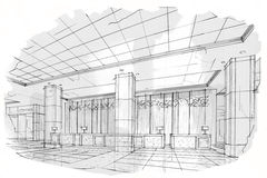 Sketch perspective interior reception , black and white interior design. Royalty Free Stock Photo