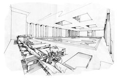 Sketch perspective interior swimming pools , black and white interior design. Stock Photography