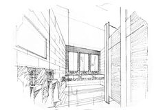 Sketch perspective interior toilet & bathroom , black and white interior design. Royalty Free Stock Images