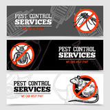 Sketch Pest Control Insect Banners Stock Image