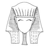 Sketch of a pharaoh`s head without a face. Vector. royalty free illustration