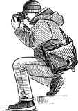 Sketch of a photographer taking picture Stock Photos